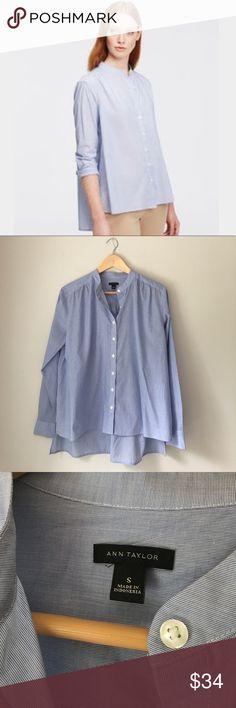 Ann Taylor Blue Mandarin Collar Hi Lo Blouse Beautiful blue Mandarin collar hi-lo blouse by Ann Taylor. Size Small. NWOT. Ann Taylor Tops Blouses