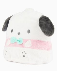 Pochacco is looking dapper in a pastel color palate and matching mint tie. This plush pouch has been plumped for extra cuteness. With a lined interior, zipper closure and upright stance, this pouch is perfect for school supplies, makeup or even a small snack. This pouch is a special collection item, you'll surely want it for your Sanrio stash.