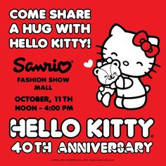 Be officially counted! Give Hello Kitty a hug on October 11th at Sanrio Fashion Show.
