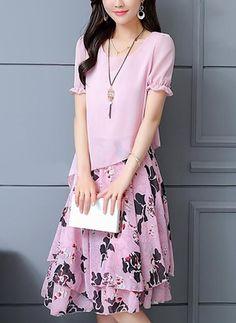 Floral Ruffles Short Sleeve Knee-Length A-line Dress