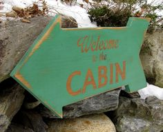 Welcome to the Cabin Reclaimed Wood Arrow Sign
