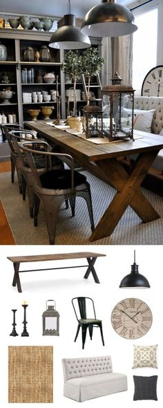 rustic and traditional dining room