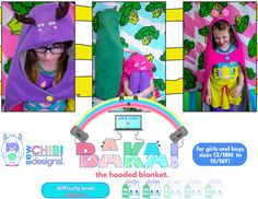 Baka the Hooded Blanket PDF Pattern by Sew Chibi Designs $10 sizes 12M-16Y (or adult!) for boys AND girls! On sale now for $8.20! (Offer end 4/23/18) Sewing Patterns For Kids, Sewing Projects For Kids, Sewing For Kids, Sewing Ideas, Dress Sewing Tutorials, Sewing Blogs, Preschool Art Projects, Fabric Purses, Hooded Blanket