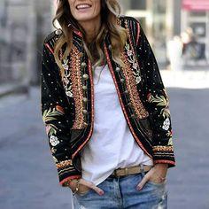 Long Sleeve Floral Embroidery Blazer Outerwear – fedire Older Women Fashion, Black Women Fashion, Womens Fashion, Ladies Fashion, Blazer Fashion, Fashion Outfits, Fashion Top, Cheap Fashion, Fashion Clothes