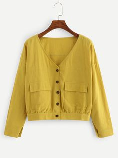 Single-breasted Solid BlouseFor Women-romwe – Online Pin Page Cute Yellow Shirts, Camisa Lisa, Indian Clothes Online, Spring Shirts, Plain Shirts, Saree Blouse, Blouse Designs, Autumn Fashion, Fashion Outfits