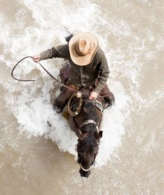 Filson Ads 2016 Fall, cowboy on horseback in river Cowboy Horse, Cowboy Up, Horse Riding, Cowboy Pics, Western Cowboy, Pretty Horses, Beautiful Horses, Westerns, Real Cowboys