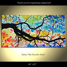 Tree Painting Flowers Original Modern Landscape Abstract. $229.00, via Etsy.