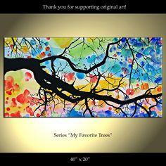 Tree Painting Flowers Original Modern Landscape Abstract. $229.00, via Etsy.