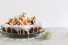 ... vanilla bean cake with coconut glaze and figs ...