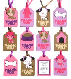 Cute Girl Puppy Dog Thank you Tags by ScrapsToRemember on Etsy, $12.00