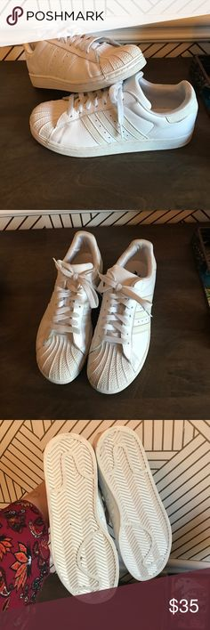 Adidas originals shelltoe all white shoes Size 5 1/2 men's so they fit about a 7.5 women's. I wear both 7.5 & 8, they fit me! Gently worn. adidas Shoes