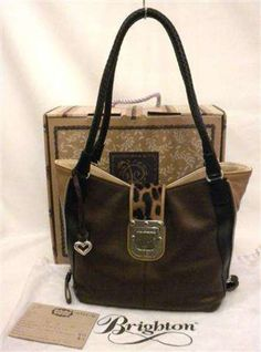 brighton ali tote | Brighton Ali Side Zip Tote Brown & Tan Leather Leopard Print Haircalf ...