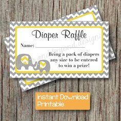 But with a bird instead.  Yellow Grey Baby Shower Diaper Raffle by BumpAndBeyondDesigns, $4.00