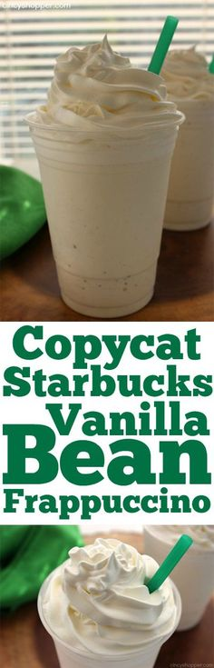Copycat Starbucks Vanilla Bean Frappuccino - (basically a vanilla milkshake) Smoothie Drinks, Smoothie Recipes, Köstliche Desserts, Dessert Recipes, Yummy Drinks, Yummy Food, Healthy Drinks, Tasty, Healthy Smoothies