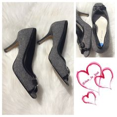 """Anne Klien Heels 6.5 Gorgeous black and white threaded 3"""" heels.  They have been worn a couple of times but still look new!!  Perfect for that business look!! Anne Klein Shoes Heels"""
