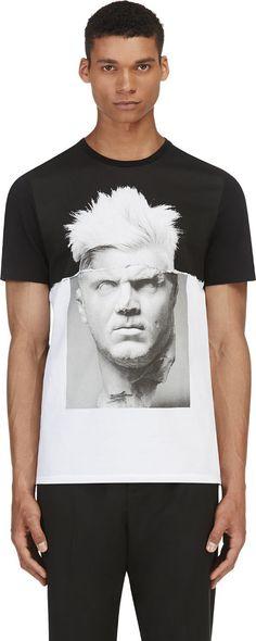 Neil Barrett - Black & White Punk Marble T-Shirt | SSENSE $245