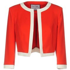 Fly Girl Blazer ($80) ❤ liked on Polyvore featuring outerwear, jackets, blazers, red, red jacket, single breasted jacket, blazer jacket, short-sleeve blazers and red blazers