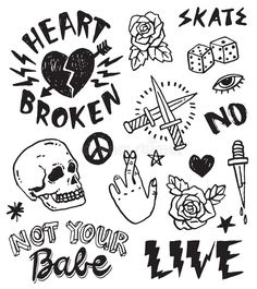 Illustration about A set of grunge doodles and badges to draw or embroider on to fashion items like denim jackets. Illustration of heart, dice, embroider - 141095664 Grunge Tattoo, Punk Tattoo, Kritzelei Tattoo, Doodle Tattoo, Grunge Art, Tattoo Set, Flash Art Tattoos, Tattoo Sketches, Tattoo Drawings