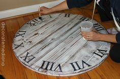 Pottery Barn Clock Knock Off | bought a faux clock hand from Hobby Lobby and used a screw to screw ...