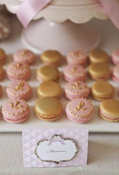 Bubble and Sweet: Pink and Gold decorated Shabby Chic princess macarons