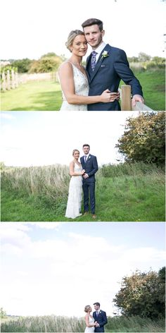 bride and groom relaxed as they stand for photos in grass with big sky behind them. Copdock Hall barn suffolk, Rebecca Prigmore Photography