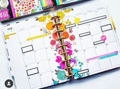 Creative & Beautiful Rainbow Floral Classic Happy Planner Weekly Layout Using the HP Fun Florals Sticker Book Planner Layout, Planner Pages, Planner Stickers, Planner Ideas, Diy Crafts For Girls, Mini Happy Planner, Erin Condren Life Planner, Planner Organization, Journaling