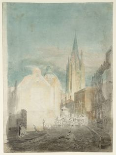 Joseph Mallord William Turner 'Oxford: St Mary's and the Radcliffe Camera from Oriel Lane', -- From Watercolours and Studies Relating to the Welsh and Marches Tours -- c.1793–4 - Graphite and watercolour on paper - Dimensions Support: 528 x 389 mm - Collection - Tate