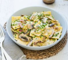Creamy Mushroom And Bacon Ravioli 328 Calories