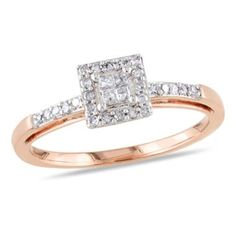 1/5 CT. T.W. Princess-Cut Quad Diamond Square Frame Engagement Ring in 10K Rose Gold