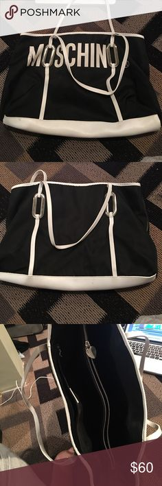 MOSCHINO beach bag Gently used moschino beach bag. M is slightly worn but it is very functional and a great piece! Moschino Bags Travel Bags