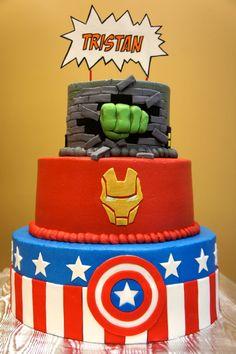 Superhero cake- Avengers on the front...