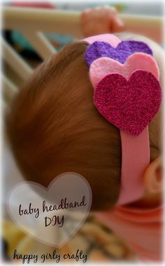 Glitter and hearts make a cute DIY baby headband!