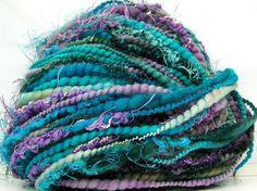 Kitty Grrlz FunctionArt Hand Spun Art Yarn - Turquoise Garden - for all Kitty Grrlz yarns:  http://www.etsy.com/shop/kittygrrlz