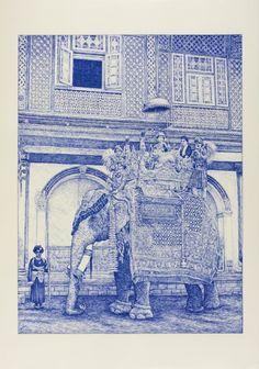 Andrea Zucchi   Geishe, Piramidi & Maharaja ! Disegni a penna a sfera da immagini del XIX e XX secolo.  Basilica di Sant' Ambrogio Antiquum Oratorium Passionis, Milano, dal 6 giugno al 17 giugno 2012.
