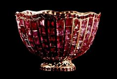 Bowl of Rubies - Crown Jewels of Iran. Imagine that the imperial courts of Iran (Persia) used jewel encrusted dishes and utensils of all sorts,like this dazzling bowl of the finest and most precious rubies and gold, in their daily affairs.