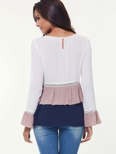 Shop Crochet Panel Tiered Frill Hem Blouse online. SheIn offers Crochet Panel Tiered Frill Hem Blouse & more to fit your fashionable needs.