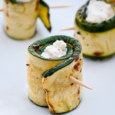 Great outdoor bbq idea. Cheese stuffed zucchini rolls.