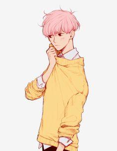 alone, animation, art, boy, drawing, guy, illustration, pink hair, simple, aki chan, anime