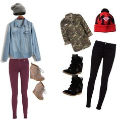 Beanie style >>>left outfit with combat boots