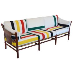 Scandinavian Modern Arne Norell Ilona Sofa with Pendleton Stripes:  1960's | From a unique collection of antique and modern sofas at https://www.1stdibs.com/furniture/seating/sofas/