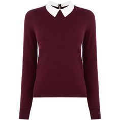 OASIS Collar Knit Sweater ($63) ❤ liked on Polyvore featuring tops, sweaters, shirts, jumpers, red, holiday sweater, knit sweater, knit shirt, detachable collar shirt and oasis shirt