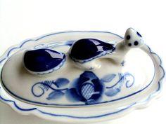Vintage Gzhel Russian Blue and White Porcelain Vanity Box