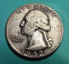 1952 Washington Quarter Vintage Circulated 90% Silver Preppers Survivalists Coin