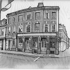 Pen and Ink Sketch - April 2017  #2, St Andrew Street A Grade II* Listed Building in Hertford, Hertfordshire  GV II* House, now commercial, operating as The Women's Society Boutique clothing shop. @thewomenssociety  C17 comprehensively rebuilt early/mid C18, altuered and shopfront inserted late C19.  Dark red brick, Flemish bond, with pale orange dressings.