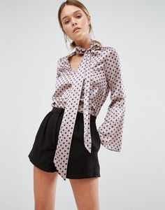 Closet Silky Blouse with Pussy Bow and Fluted Sleeve at asos.com
