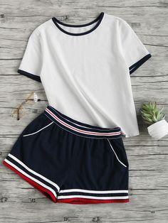 Ringer Tee And Striped Waist Binding Shorts Set