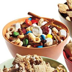 Sweet-Tooth Snack Mix- 2 cups pretzel sticks, 2 cups multigrain cheerios, 1 cup mini marshmallows, 1/2 cup M&M's, 1/2 cup raisins