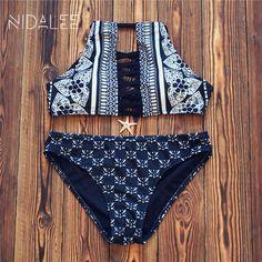 $9.62 (Buy here: https://alitems.com/g/1e8d114494ebda23ff8b16525dc3e8/?i=5&ulp=https%3A%2F%2Fwww.aliexpress.com%2Fitem%2FNIDALEE-NEW-Sexy-Women-Bikini-Set-Summer-High-Neck-Swimsuit-Ladies-Hollow-Out-Swimwear-Floral-Bikini%2F32786525607.html ) NIDALEE NEW Bikinis Women 2017 Swimwear Print Halter Bikini Sexy Bikini Set Black High Neck Swimsuit Brazilian Bathing Suit for just $9.62