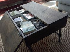 Rustic Wood Industrial Coffee Table with Gas Pipe Legs and Storage