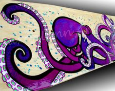 Pushing Paint Since 2011 Fort Worth, Dallas, DFW Texas Murals, Interior or Exterior, Residential or Business. Home or Commercial Fine Artist Couple. Professional fine art painted by hand. Octopus Decor, Octopus Art, Surf Decor, Purple Art, Neon Purple, Art Surf, Skateboard Decor, Kraken Art, Octopus Painting